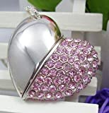 Crystal Diamond Heart Shape Jewelry USB Flash Drive with Necklace:8GB(Pink)