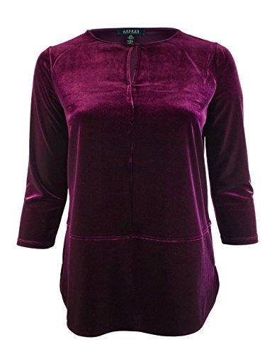 Lauren Ralph Lauren Women's Plus Size 3/4 Sleeve Keyhole Velvet Top-P-3X