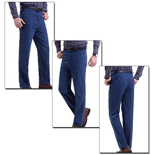 Oscuro ZEVONDA de de Estiramiento Pantalones Azul Primavera Jeans Gran de Alta Hombres Ligero Pantalones Verano Tamaño Vaqueros Cintura de de y los 1U1nrWf