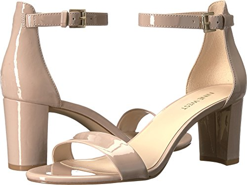 Nine West Women's Pruce Block Heel Sandal Natural Sleek Patent Pu 9 M US - Dress Patent Sandal