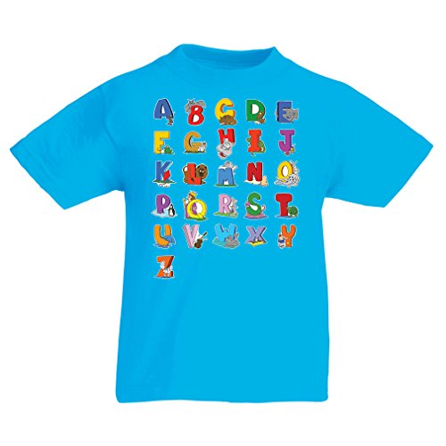 Funny t shirts for kids alphabet t shirt animal ABC design for kids Alphabet, learning ABC, alphabet letters,abc song (9-11 years Light Blue Multi (Alphabet Tee)