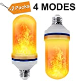 CPPSLEE - LED Flame Effect Light Bulb - 4 Modes with Upside Down Effect - E26 Base LED Bulb - Flame Bulb for Halloween Home/Hotel/Bar Party Decoration(2 Pack)