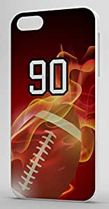 Flaming Football Sports Fan Player Number 90 White Plastic Decorative iphone 6 4.7 Case