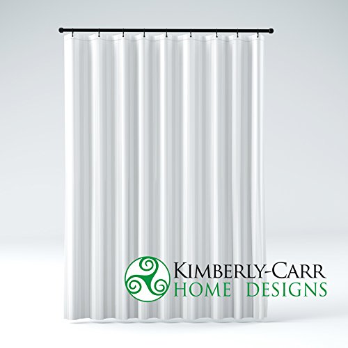 (Kimberly-Carr Home Designs' THE SHOWER CURTAIN LINER PVC-Free, Hotel Quality Mildew Resistant Washable Fabric, Water-Repellent, Elegant White Damask Stripe, Eco Friendly, STANDARD Size (71