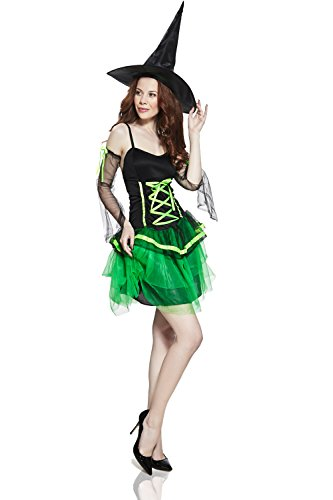 [Adult Women Pretty Witch Halloween Costume Sexy Sorceress Dress Up & Role Play (Small/Medium, green,] (Sexy Halloween Dress Up)