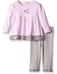 Baby-Girls Cotton Interlock Star Tunic and Metallic Printed Legging