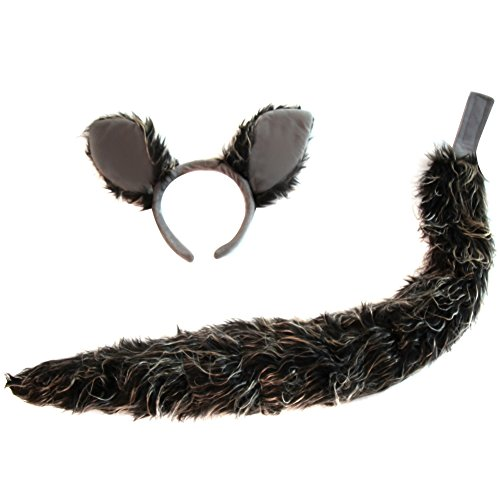 Wolf Tail And Ears Costume (Oversized Grey Wolf Ears & Tail Costume Set)