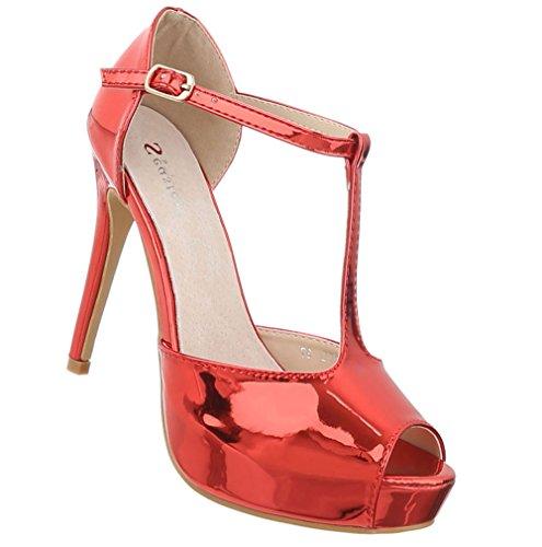 Schuhcity24 Damen Schuhe Sandaletten High Heels Plateau Pumps Rot