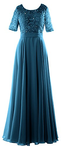 Lace Formal of Long Mother Sleeve Dress Women Half Gown Evening Bride Teal MACloth TfSwxq5