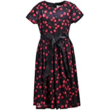 Emma Riley Girls' Short Sleeve Printed Chiffon Party Dress with Satin Belt