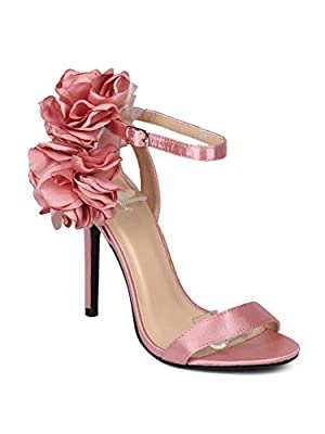 Women Satin Open Toe Floral Bunch Ankle Strap Stiletto Sandal - HF61 by Qupid Collection