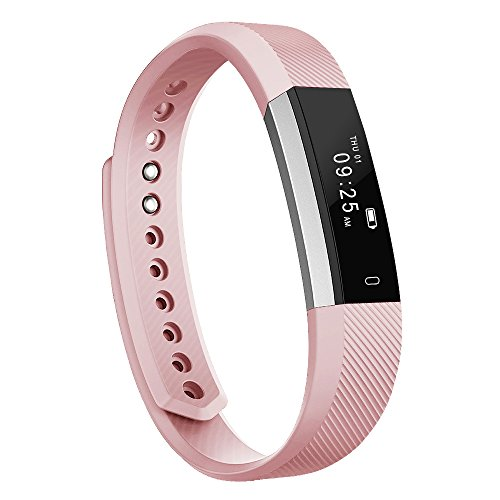 Fitness Tracker, MoreFit Alta Touch Screen Activity Health Tracker Wearable Pedometer Smart Wristband, Silver/Blush