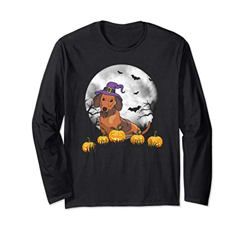 Nyc Halloween Events For Adults (Dachshund Wiener Dog Witch Halloween Long Shirt Pumpkin Long Sleeve)