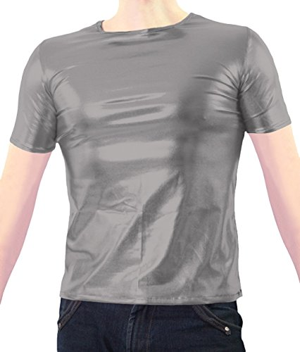 Marvoll Unisex Shiny Party Clubbing Dance Gay Stag / Hen T Shirt (X-Large, Gray) (Real Spiderman Outfit)