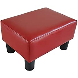 "HOMCOM Modern 15"" Rectangular Faux Leather Ottoman Footrest - Bright Red"