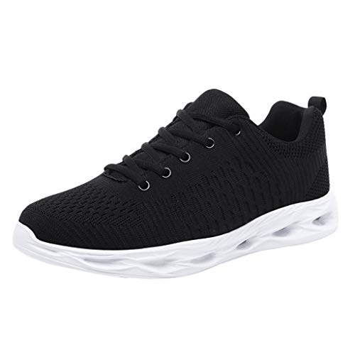 TANGSEN Men Fashion Casual Sneakers Wild Mesh Lace Up Breathable Movement Shoes Outdoor Leisure Shoes Black ()