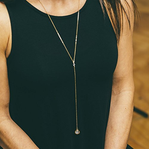 (Gold Filled Long Crystal Lariat Drop Necklace Jewelry Gift for Her)