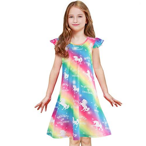 Sylfairy Girls Nightgown Rainbow Unicorn Sleepwear Nightie Princess Night Dresses Pajamas Dress for Kids (Rainbow Unicorn,6-7Years)