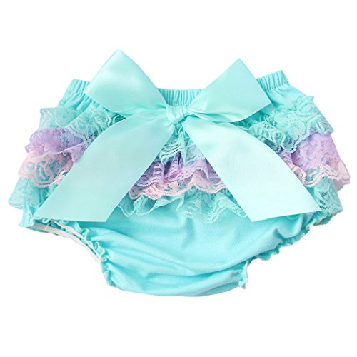 Lace Satin Bloomers (MIOIM Adorable Baby Girls Lace Satin Bloomers Ruffle Tutu Diaper Cover Short Panties)