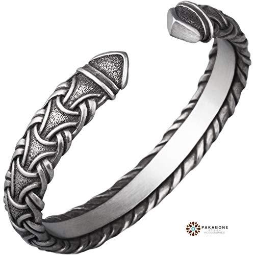 Viking Bracelet - Norse Metal Arm Ring with Viking Pattern - Scandinavian Germanic Design - Nordic Pagan Jewelry for Men Women