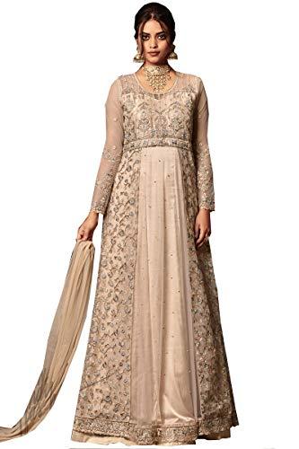 ziya HeavyEmbroidered Anarkali Salwar Kameez Glamour (Cream, XS-36)