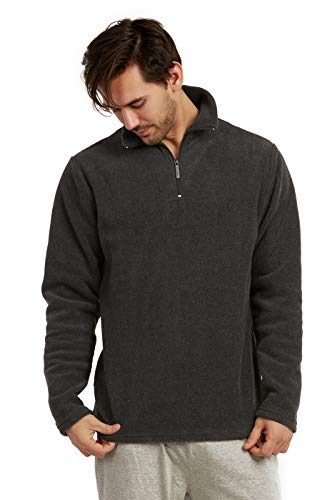 ET TU Men's Quarter Zip Polar Fleece Pullover Sweatshirt (3XL, Charcoal)