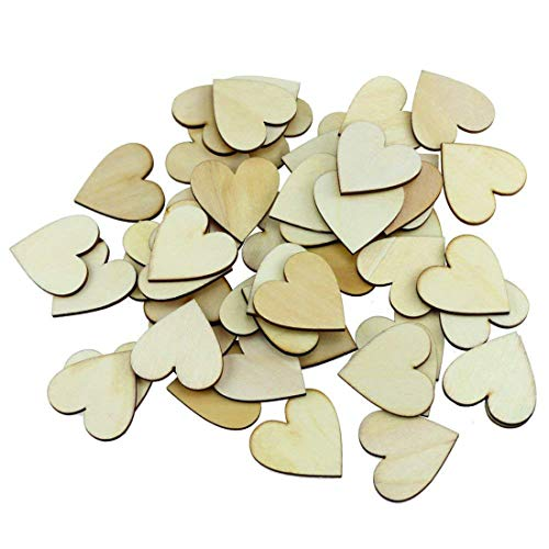 100pcs 1.57 inches Wooden Heart Slices Discs Crafts Decor for DIY Arts & Crafts Projects, Embellishment for Wedding,Christmas Ornaments, Wedding Table Scatter Decoration