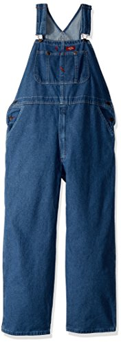 Dickies Men's Denim Bib Overall, Stone Washed Indigo Blue, 38 x 30