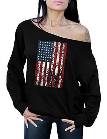 Awkward Styles Awkwardstyles American Flag Distressed Off The Shoulder Tops Pocket Sweatshirt S Black