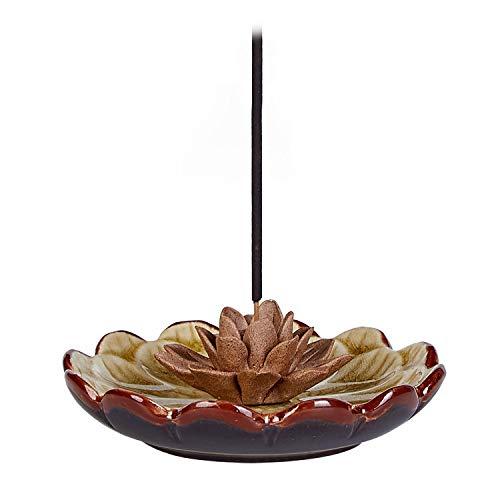 UOON Incense Stick Burner Holder - Handmade Ceramic Lotus Flower Incense Burner Bowl Ash Catcher Tray Plate (Yellow)