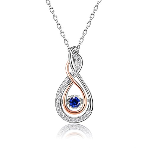 - Caperci Sterling Silver Created Blue Sapphire Layered Infinity Pendant Necklace for Women, 18''