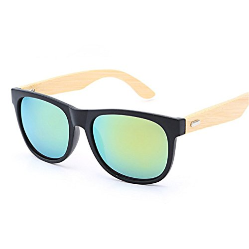 HOT SALE! BYEEE Womens Bamboo Wood Sunglasses with Mirror Lens / Vintage Sunglasses For Women And Men - Hot Sale Sunglasses