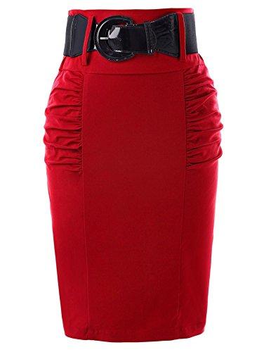 Reveryml Femme Jupes Femmes Taille Haute Vintage Rtro Crayon Jupes avec Ceinture Femme Bureau Travail Jupe Moulante t Midi Saias Red