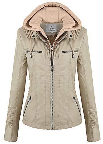 Showlovein Women Hooded Faux Leather Jacket Hat Detachable Motorcycle Jacket Khaki