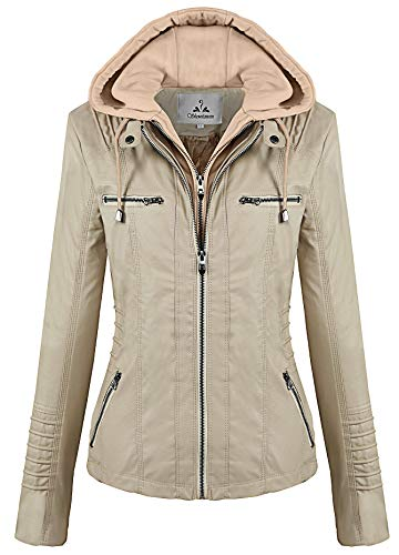 cd325e6b9 Showlovein Women Hooded Faux Leather Jacket Hat Detachable ...