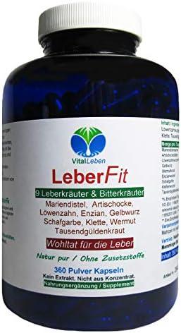 Leber FIT 9 Leberkräuter & Bitterkräuter 360 Kräuter Kapseln. Wohltat für alle normalen Leberfunktionen NATUR...