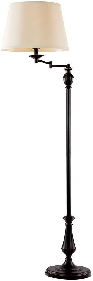 Hampton Bay 1000051631 Oil Rubbed Bronze Swing Arm Floor Lamp with Fabric Shade