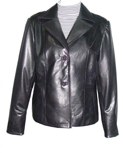 メドレー縫うめったにPaccilo women4037 Realラムスキンレザーブレザー カラー: ブラック