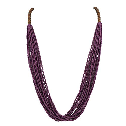 Bocar Long Multiple Row Handmade Beaded Statement Necklace with Gift Box (NK-10407-magenta -