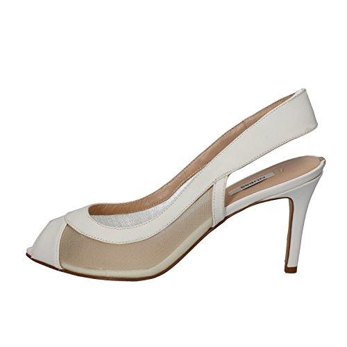 Chaussures Femme Guess 40 Eu Sandales En Cuir Blanc Tissu Ak869