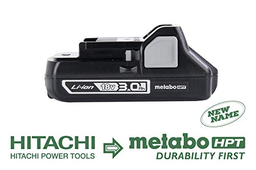 Metabo HPT 339782M 18V Battery, Lithium-Ion Slide Style, 3.0 Ah, Compact and Lightweight Design, Also Works with Hitachi Power Tools 18V Slide Style Cordless Tools