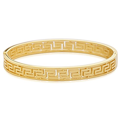 Edforce Stainless Steel Women's Greek Pattern Oval Cutout Hinged Bangle Bracelet (Gold ()