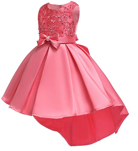 Shiny Toddler Little Girls Pleated Beaded High-Low Applique Embroidered Flower Girl Pageant Dance Party Dress,Coral,5-6 ()