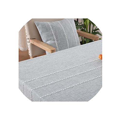 Solid Color Stripe Cotton Linen Table Cloth Rectangular Table Cover Lace Edge Tablecloth for Wedding,Light Grey,130x200cm