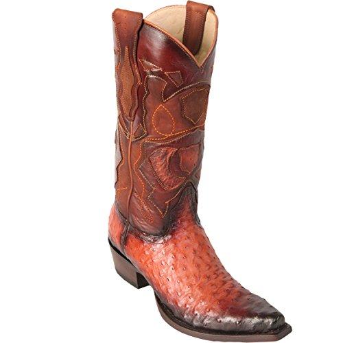 (Original Faded Cognac Ostrich Leather Snip-Toe Boot)