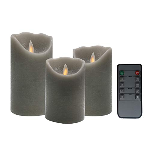 (Kitch Aroma Marble Grey Color flameless candles 3 x 4/5/6inch Battery Operated LED Pillar Candles with Moving Flame Wick and Timer,Wave Top)