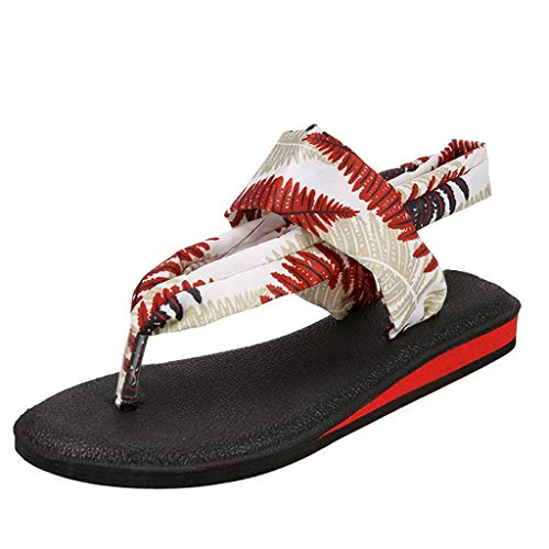 Severkill Womens Yoga Sandals Roman Flip Flop mat Sling Back Meditation Shoes for Studio and Outdoor Beach Walk Shoes Red