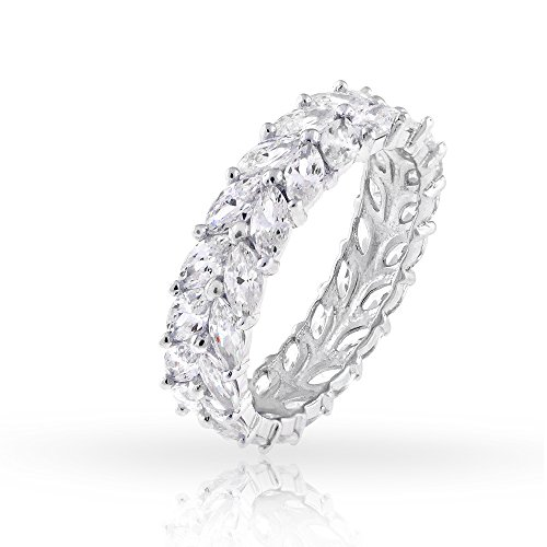 .925 Sterling Silver Womens Double Row CZ Marquise Eternity Band Rhodium Ring Size 6 7 8 9 (5) ()