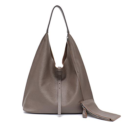 STEPHIECATH Women Vintage Leather Shoulder Bag Large Slouchy Soft Hobo Handmade Tote Bags Ladies Genuine Leather Bucket Strip Shopping Bag with Zipper Liner Bag Inside (GREY)