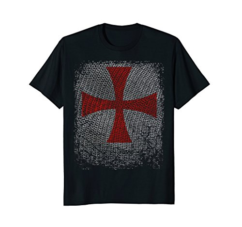 Mens Knight Templar T-Shirt Crusader Cross on Chain Armor Large Black